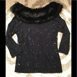 Berke beaded sweater with collar (removable)
